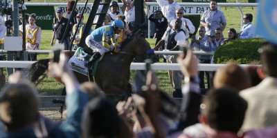 Fans cheers as American Pharoah runs to victory at the Belmont Stakes on Saturday (Julie Jacobson/AP).