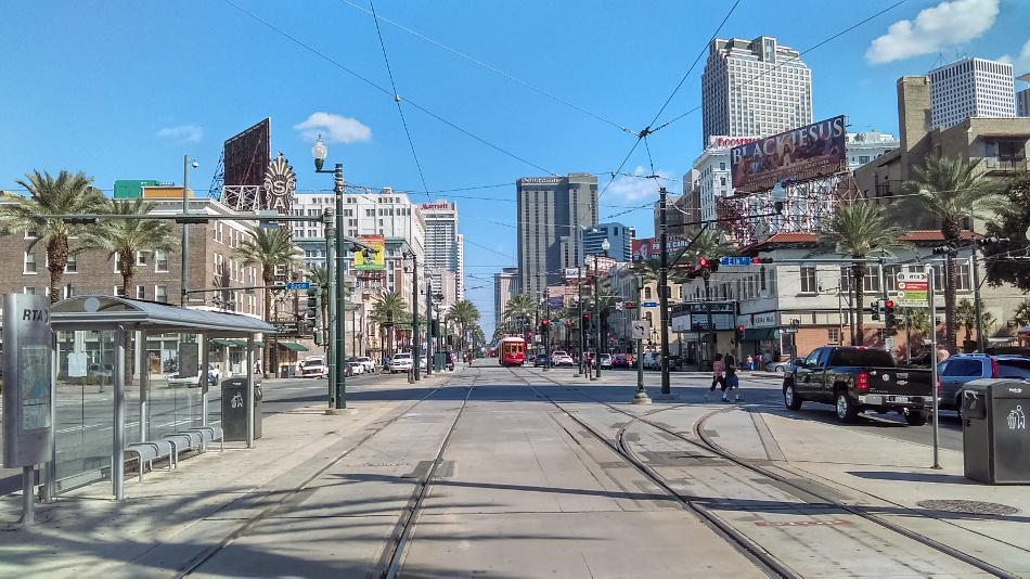 A view of Canal Street in New Orleans, taken by yours truly, that almost looks out of a Hollywood set.