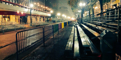 St. Charles Avenue sleeps in the mist as it awaits another busy week.